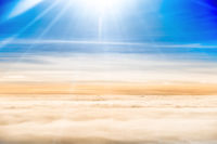 Beautiful airview with blue sky, white clouds and sunrays