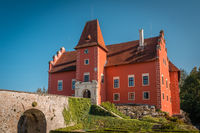 Red water chateau Cervena Lhota in Southern Bohemia, Czech Republic.Summer weather without clouds