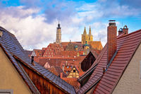 Rooftops and landmarks of historic town of Rothenburg ob der Tauber view