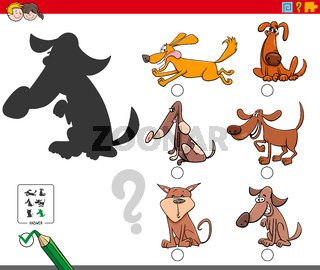 shadows game with cartoon dog characters