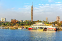 The Cairo Tower on the bank of the Nile, Egypt