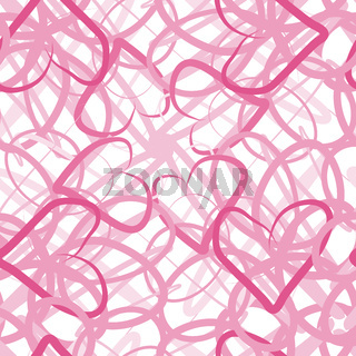 Seamless pattern - pink spider web of hearts,