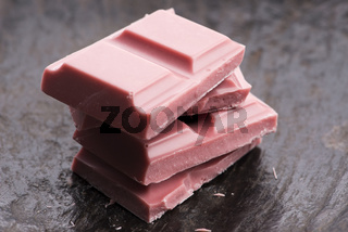 Trendy, New Type Ruby Chocolate Sliced