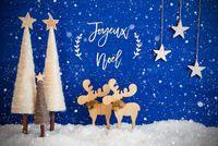 Christmas Tree, Moose, Snow, Star, Joyeux Neol Means Merry Christmas, Snowflakes