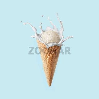 Fresh natural ice-cream in a corn with milk splash against pastel blue background.