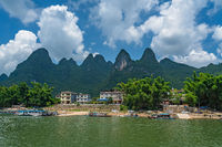 Boat landing on the riverbank of the magnificent Li river