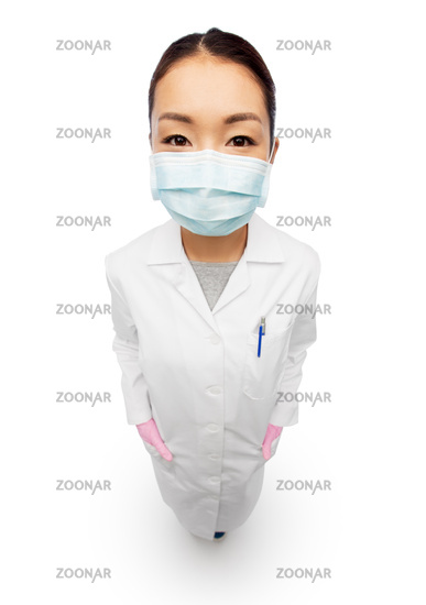asian female doctor in medical mask and gloves