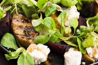 Salad of roasted beetroot, pear, lamb's lettuce, cheese