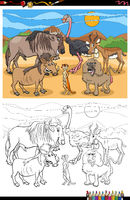 cartoon funny animals group coloring book page