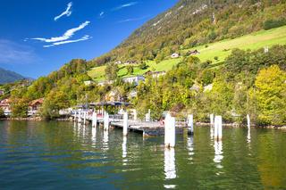 Alpnachstad Swiss Alps village on Luzern lake boat pier and landscape view