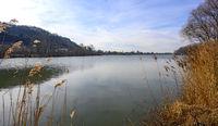 Altarm der Donau bei Greifenstein an einem trockenen Wintertag