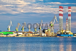Town of Pula shipyard cranes view from the sea