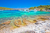 Pakleni Otoci archipelago turquoise beach and yachting bay scenic view