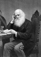 William Cullen Bryant (1794-1878) on engraving from 1873. American romantic poet