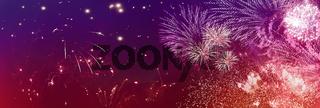 feuerwerk lichter glitzer banner rot violett