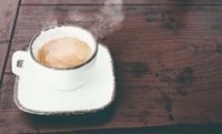 cup of steaming hot italian espresso