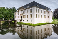 Moated castle Norderburg, water reflection, Dornum, East Frisia, Lower Saxony, Germany