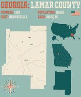 Map of Lamar County in Georgia