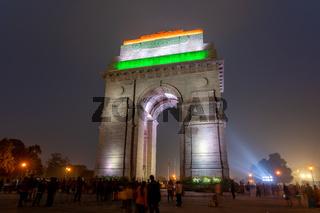 India Gate in Delhi at Night