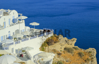 View on balconies at Oia village in the Caldera, Greece