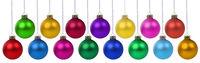 Weihnachten Weihnachtskugeln Banner Weihnachtszeit Advent Kugeln Dekoration hängen Freisteller isoliert freigestellt