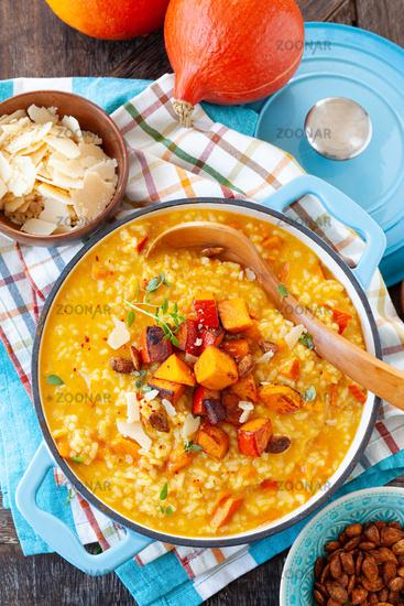 Rich creamy pumpkin risotto