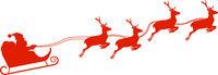 silhouette of Santa Claus in sleigh pulled by reindeer