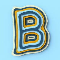 Colorful paper layers font Letter B 3D