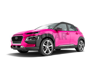 Modern pink car crossover in front 3d render on white background with shadow