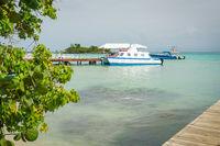 Luxurious ship docked at the small port of Cayo Levantado