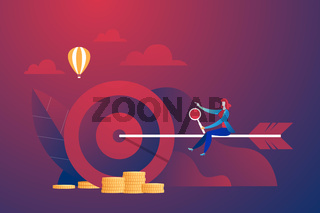 Business corporate with rider arrow to target. Vector illustration business concept. Target, accuracy