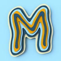 Colorful paper layers font Letter M 3D