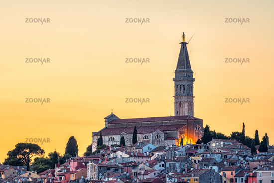 The old town of Rovinj in Croatia with the iconic Saint Euphemia church at sunset