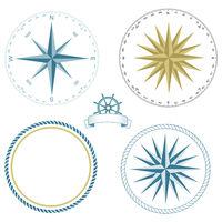 Set of nautical symbols, compass rose - vector illustration