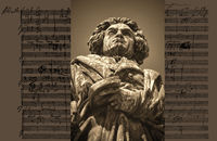 Hand-written musical notation by Ludwig van Beethoven, love song, Zärtliche Liebe, 1795, Beethoven Monument, Bonn, Germany,
