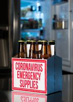 Six pack of brown beer bottles as coronavirus emergency supplies