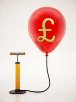 Manual hand pump connected to the inflated red balloon with Pound icon. 3D illustration