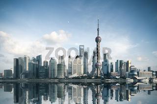 shanghai skyline with reflection