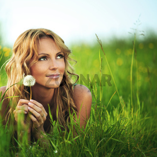 Girl with dandelion i wish