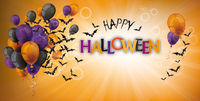 Happy Halloween Balloons Bats Grape Sunbeam Header