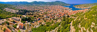Town of Vela Luka on Korcula island aerial panoramic view