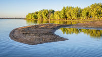 early summer morning on swimming beach of Boyd Lake