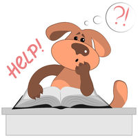 Vector illustration on a white background, square. The dog at the table with a very thick book.