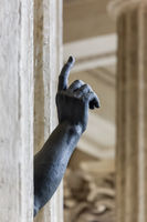 Statue with a pointing hand in Kazan Cathedral - St. Petersburg Russia