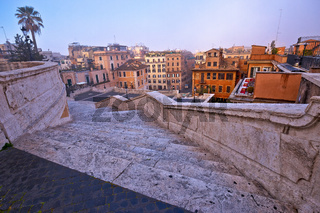 Empty streets of Rome. View from Spanish steps, famous landmark of Rome, capital of Italy
