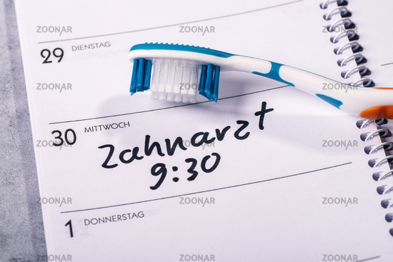 Dentist appointment in calendar