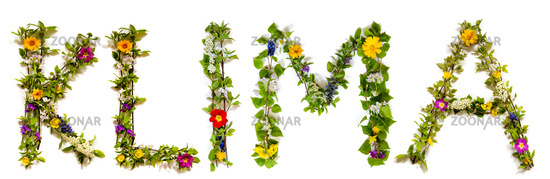 Flower And Blossom Letter Building Word Klima Means Climate