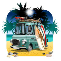 Vector Cartoon Retro Camper Van