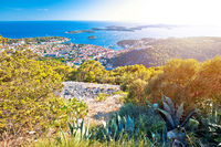 Amazing town of Hvar and Pakleni Otoci aerial sunset view