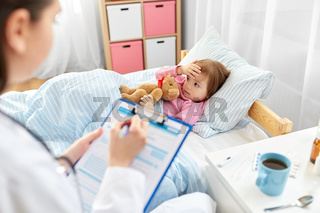 doctor with clipboard and sick girl in bed at home